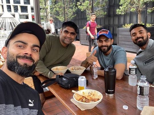 In the picture, Kohli is accompanied by Ravindra Jadeja, K.L. Rahul and Manish Pandey.