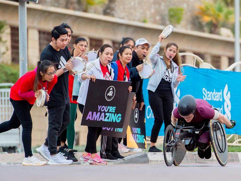 Wheel Chair participants during the Dubai Marathon 2020 in Jumeirah.