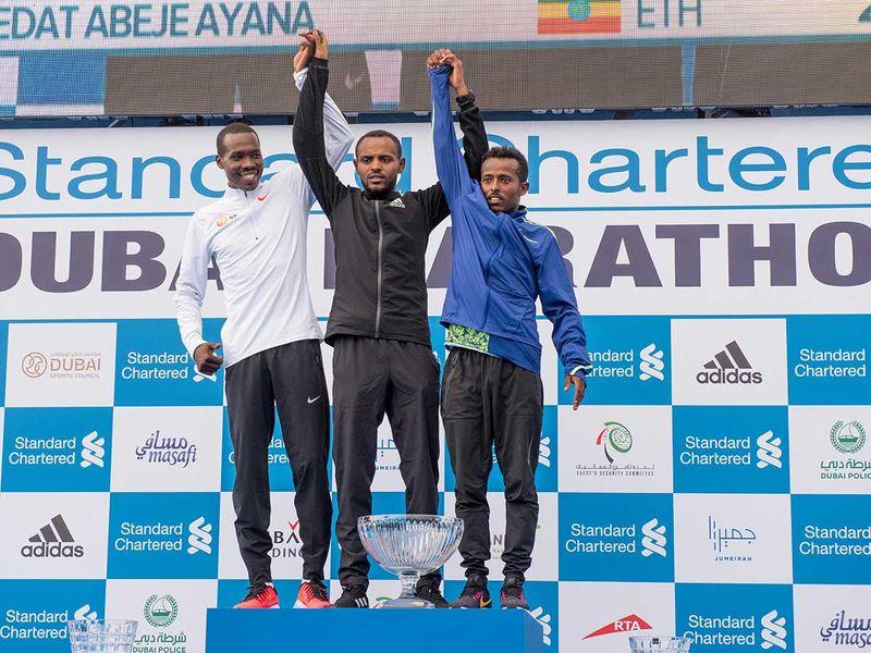 during the Dubai Marathon 2020 in Jumeirah. Dubai.