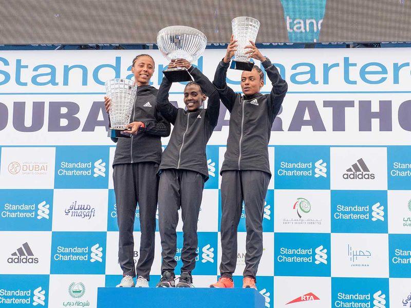 during the Dubai Marathon 2020 in Jumeirah.