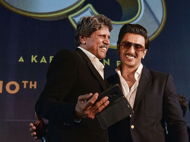 Bollywood actor Ranveer Singh and former cricketer Kapil Dev