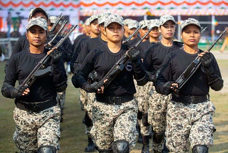 Assam's smart women police commandos participate in a parade to mark Republic Day in Gauhati, India, Sunday, January 26, 2020.