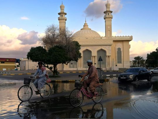 When it rained in Sharjah today afternoon.
