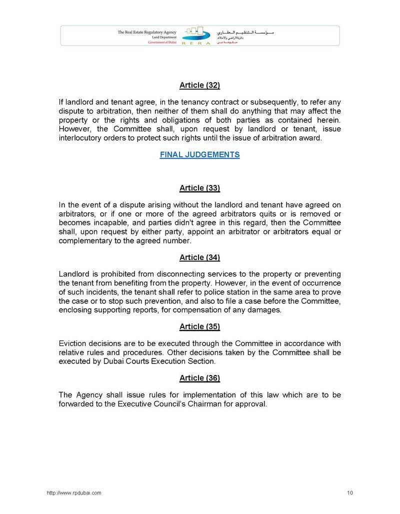 Law Regulating Relationship between Landlords and Tenants in the Emirate of Dubai No. 26 of 2007 10