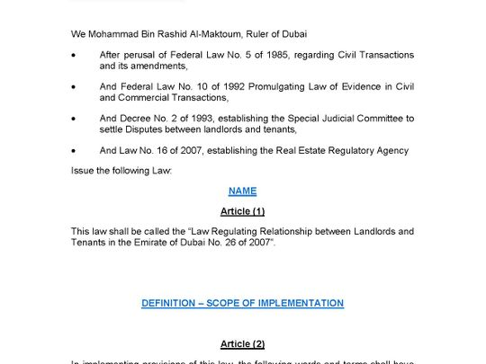 Law Regulating Relationship between Landlords and Tenants in the Emirate of Dubai No. 26 of 2007 1