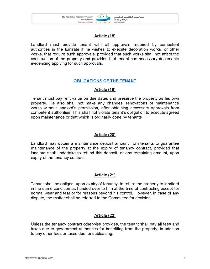 Law Regulating Relationship between Landlords and Tenants in the Emirate of Dubai No. 26 of 2007 6