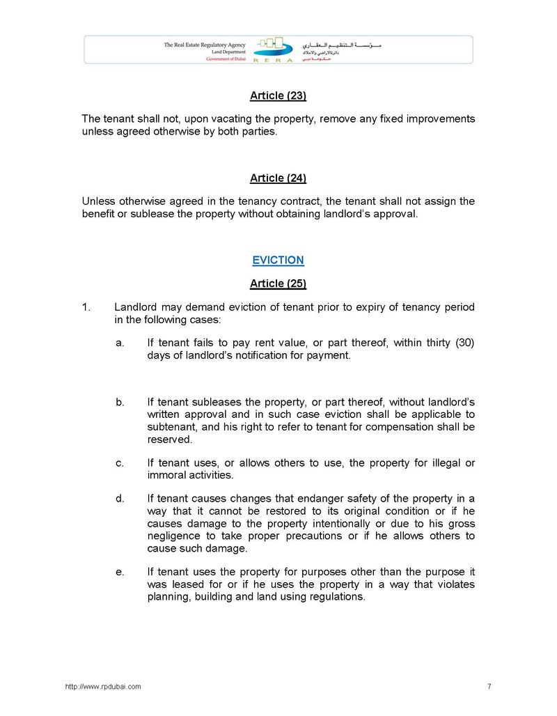 Law Regulating Relationship between Landlords and Tenants in the Emirate of Dubai No. 26 of 2007 7