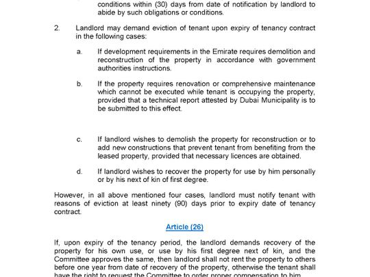 Law Regulating Relationship between Landlords and Tenants in the Emirate of Dubai No. 26 of 2007 8