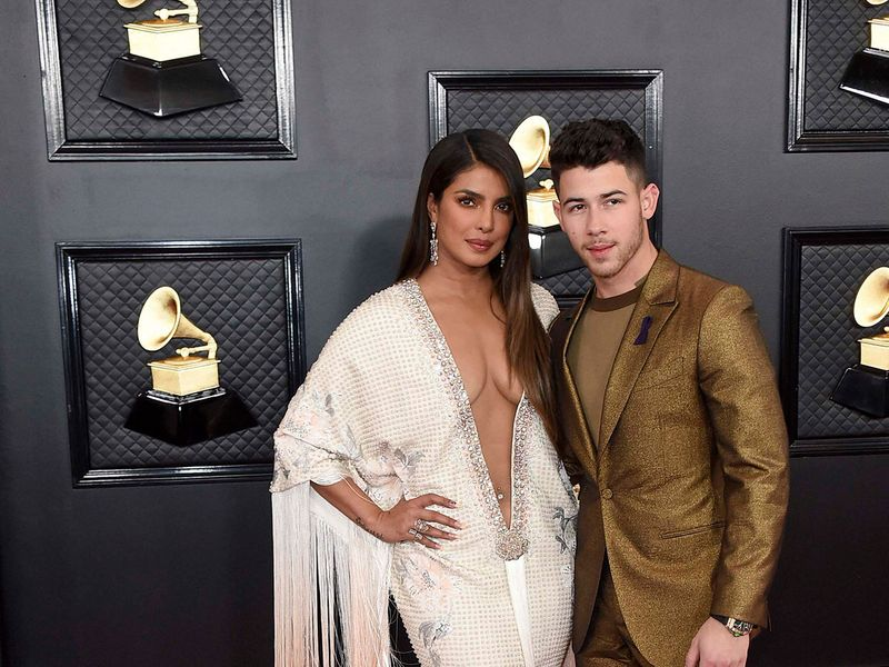 Priyanka Chopra, left, and Nick Jonas arrive at the 62nd annual Grammy Awards at the Staples Center on Sunday, Jan. 26, 2020, in Los Angeles.