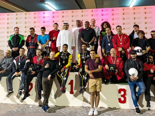 Competitors after the Al Forsan Endurance Karting Race