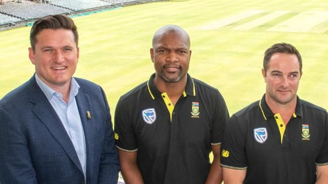 Graeme Smith, Enoch Nkwe and new South Africa coach Mark Boucher.