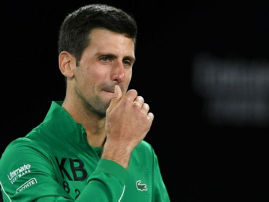 Novak Djokovic cries while speaking about Kobe Bryant.