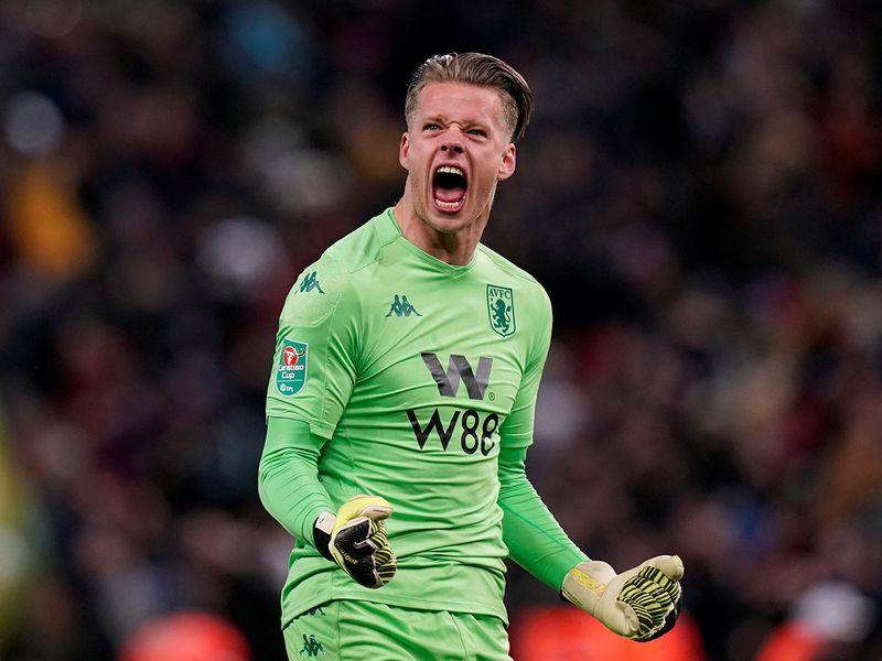 Aston Villa's Orjan Nyland celebrates their second goal scored by Trezeguet.