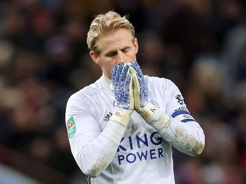 Leicester City's Kasper Schmeichel reacts.