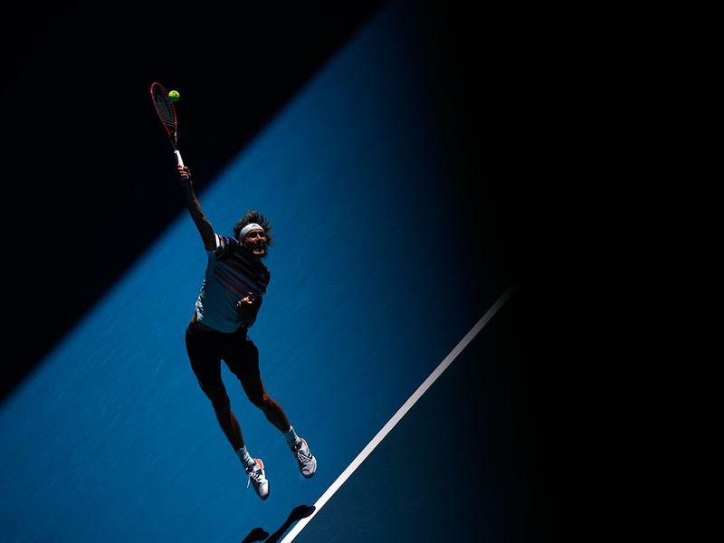 Germany's Alexander Zverev in action against Stan Wawrinka