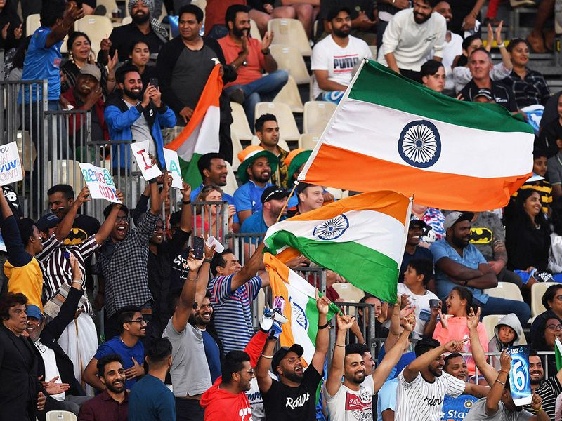 India fans and supporters cheer during the T20.