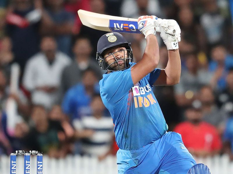 India's Rohit Sharma hits the winning runs during the third Twenty20 against New Zealand at Seddon Park in Hamilton.