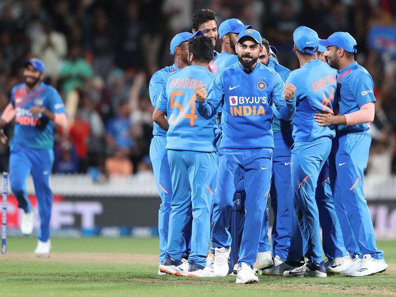 India's Virat Kohli shows his delight.