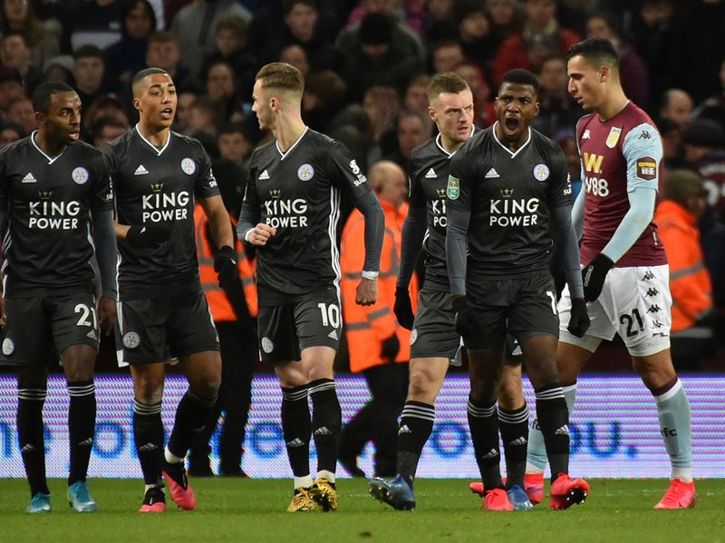 Leicester's Kelechi Iheanacho, second right, celebrates his goal.