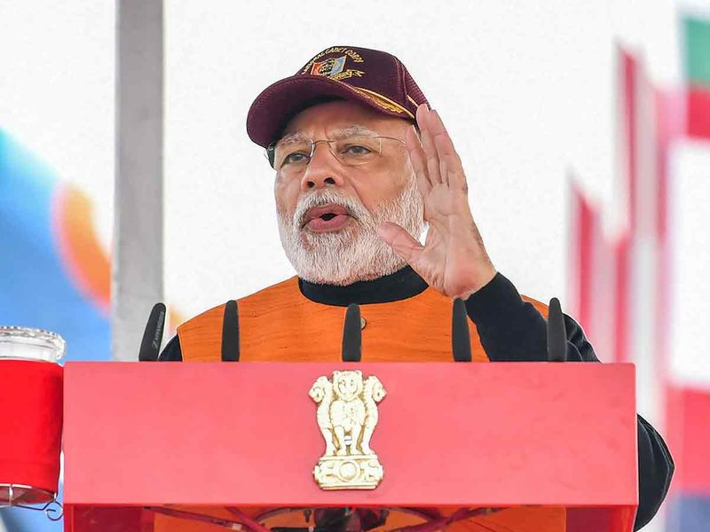 Prime Minister Narendra Modi addresses during the Annual PM's National Cadet Corps (NCC) Rally 2020, at Cariappa Parade Ground, Delhi Cantt, in New Delhi, Tuesday, January 28.