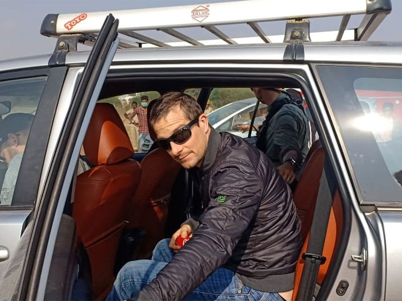 British adventurer Bear Grylls arrives at Bandipur forest in Karnataka for a shoot with actor Rajinikanth for an episode of his show 'Man vs Wild'.