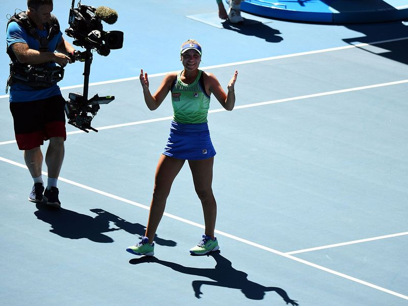 Sofia Kenin celebrates after victory against Australia's Ashleigh Barty in the Australian Open semi-finals.
