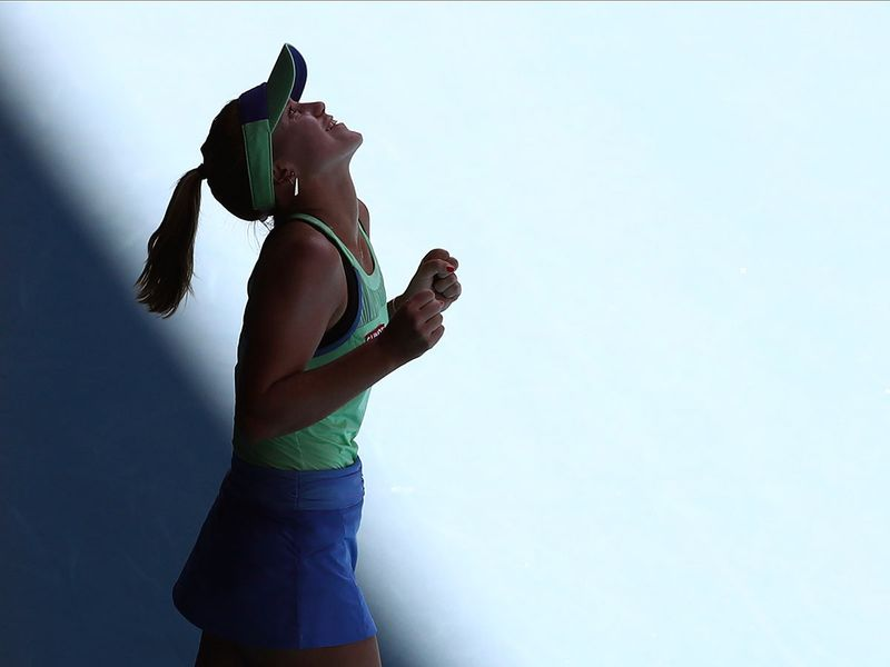 Sofia Kenin of the U.S. reacts after defeating Australia's Ashleigh Barty