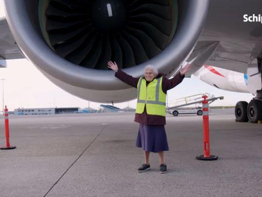 Granny Miep at Amsterdam Airport Schipol 0121