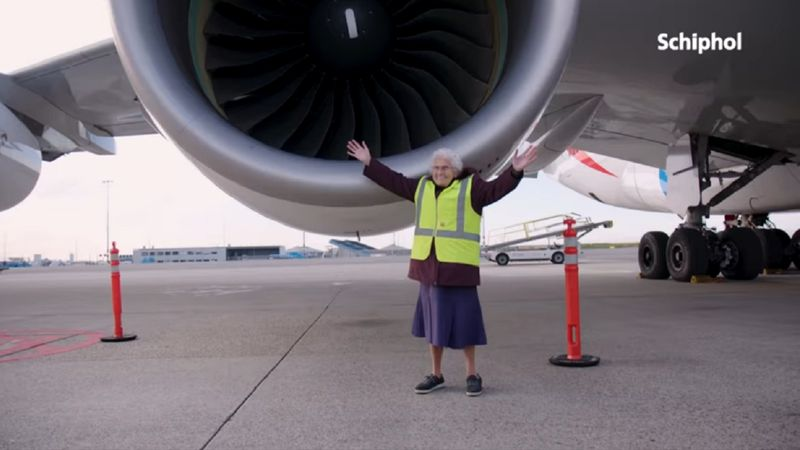 Granny Miep at Amsterdam Airport Schipol 0121