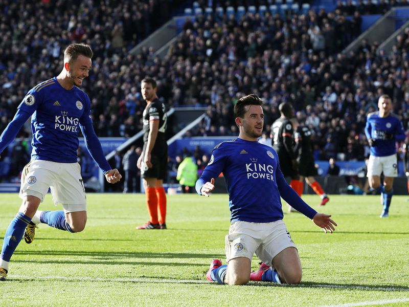 Leicester City's Ben Chilwell celebrates scoring their second goal