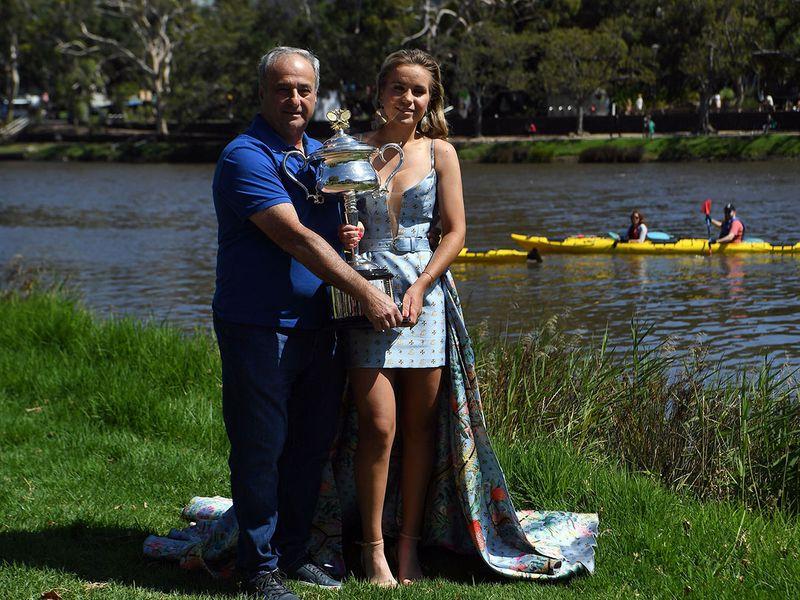 Australian Open champ Sofia Kenin with her father Alex.