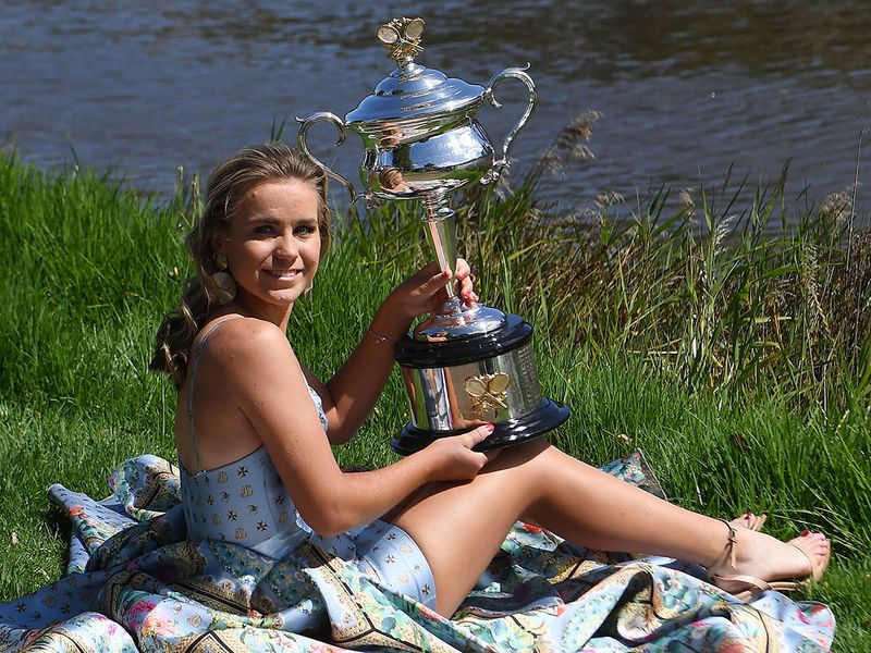 Australian open champion Sofia Kenin holds the Daphne Akhurst Memorial Cup