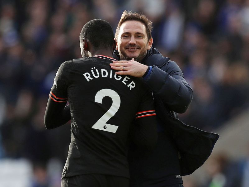 Chelsea's Antonio Rudiger with manager Frank Lampard after the match
