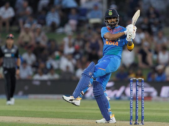 India's KL Rahul plays a shot during the fifth T20 match against New Zealand at Bay Oval in Mount Maunganui.