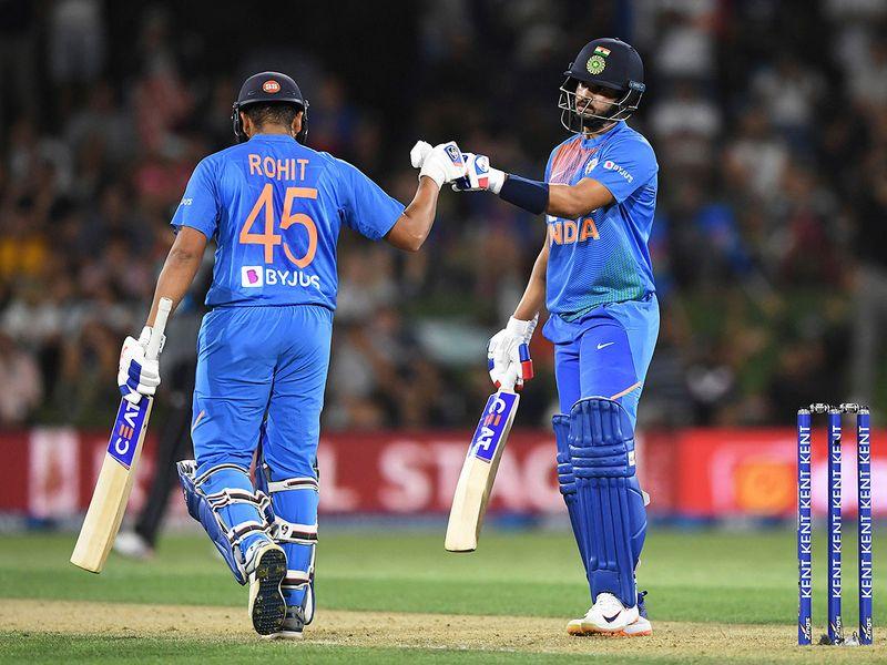 India's Rohit Sharma, left, and Shreyas Iyer