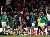 Ireland prevent Scotland from scoring a try during the Six Nations match at the Aviva Stadium in Dublin,