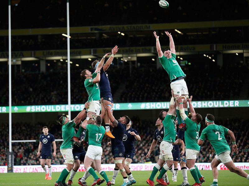 Ireland's James Ryan, right, during a line out against Scotland