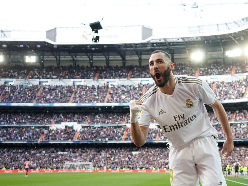 Karim Benzema celebrates his goal for Real against Atletico