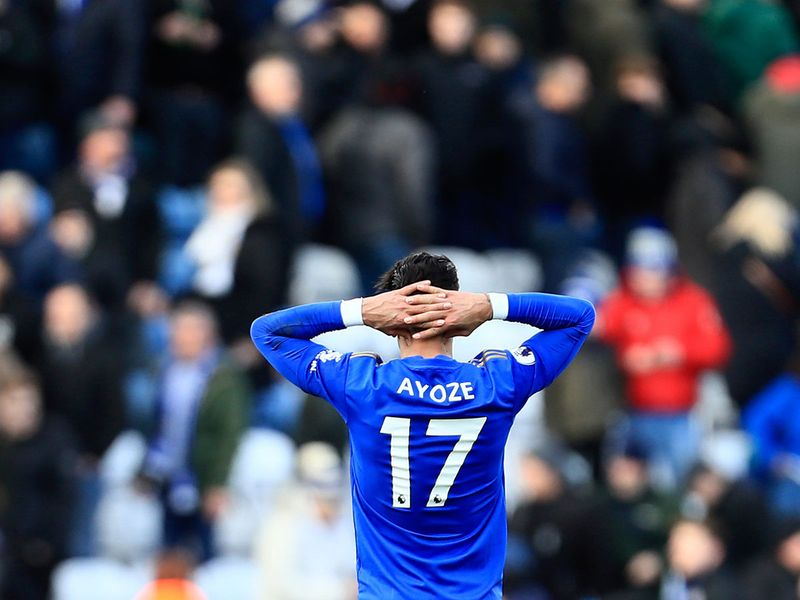 Leicester's Ayoze Perez reacts at the end of the English Premier League soccer match between Leicester City and Chelsea