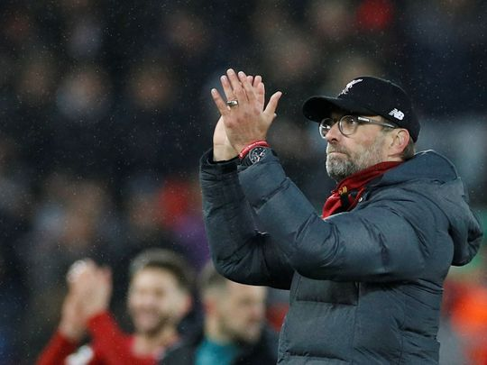 Liverpool manager Jurgen Klopp applauds fans after the 4-0 win over Southampton