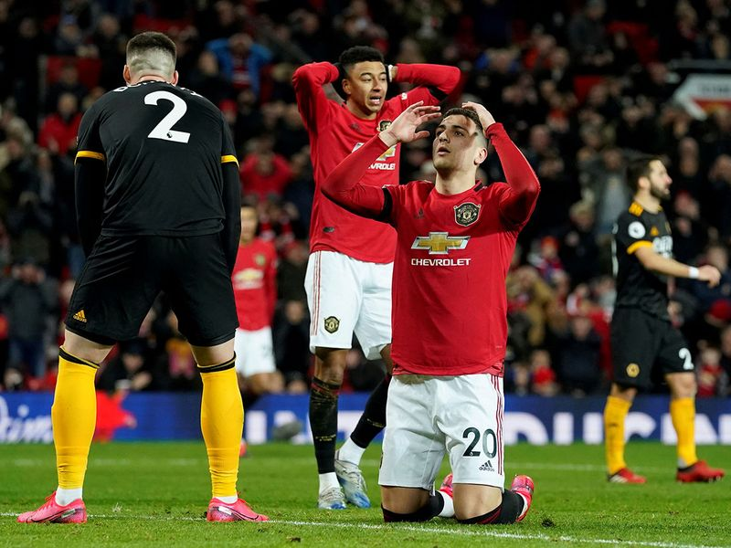 Manchester United's Diogo Dalot reacts after a missed chance