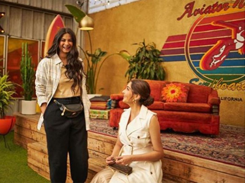 Sonam and Rhea Kapoor at the Aviator Nation