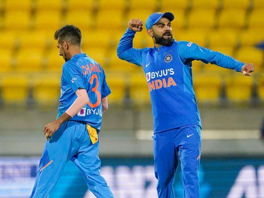 Virat Kohli celebrates India's win