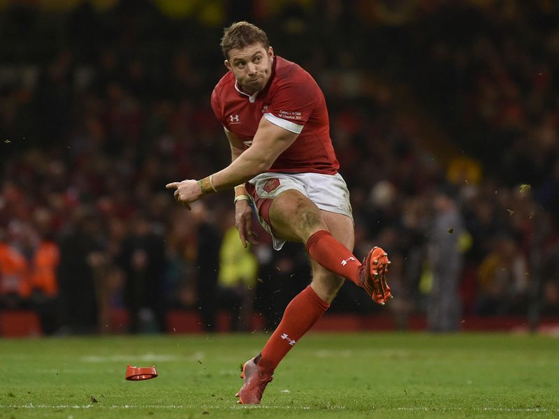 Wales Leigh Halfpenny scores form a penalty kick