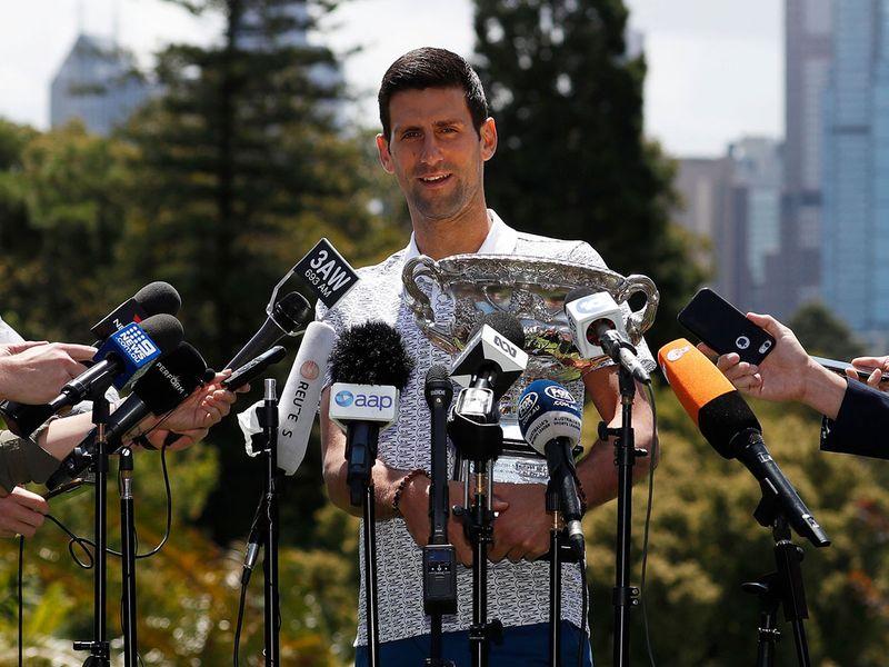 Australian Open champion Novak Djokovic makes a speech in Melbourne