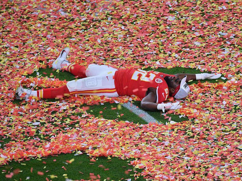 Defensive End for the Kansas City Chiefs Demone Harris celebrates