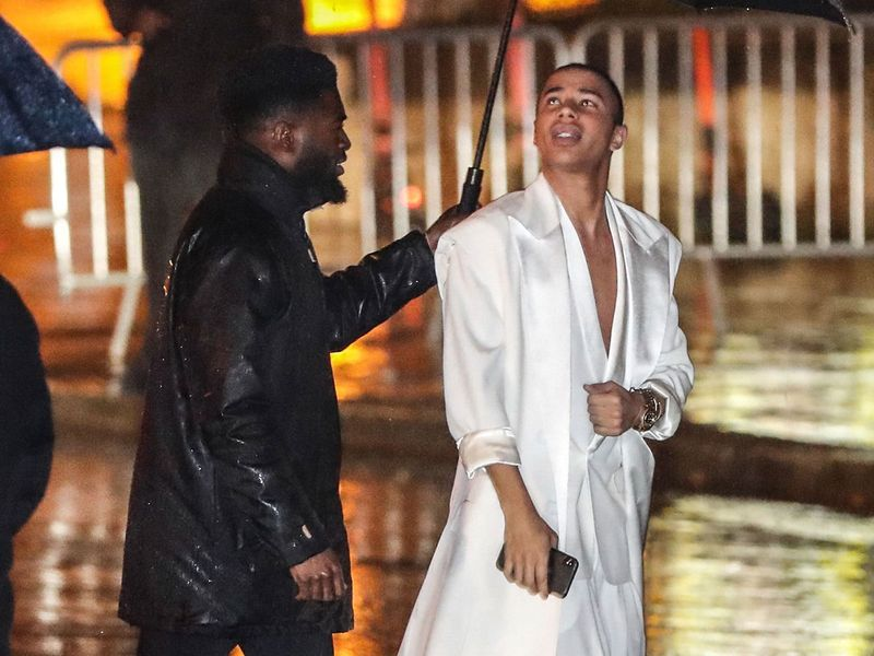 French fashion designer Olivier Rousteing arrives to attend the   the birthday party of Paris Saint-Germain's Brazilian forward Neymar on February 2, 2020, at the Yoyo in the Palais de Tokyo venue in Paris. / AFP / Zakaria ABDELKAFI