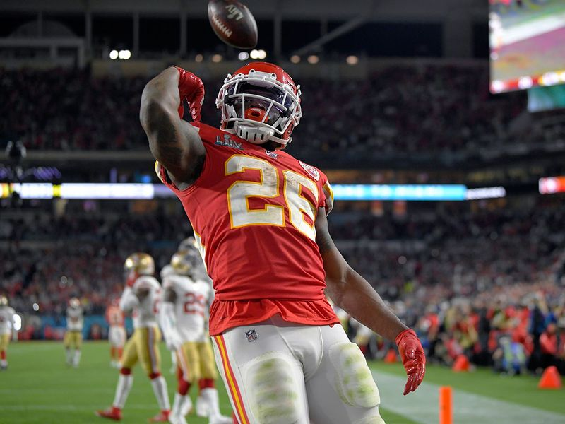 Kansas City Chiefs' Damien Williams celebrates his touchdown against the San Francisco 49ers during the second half of the NFL Super Bowl 54