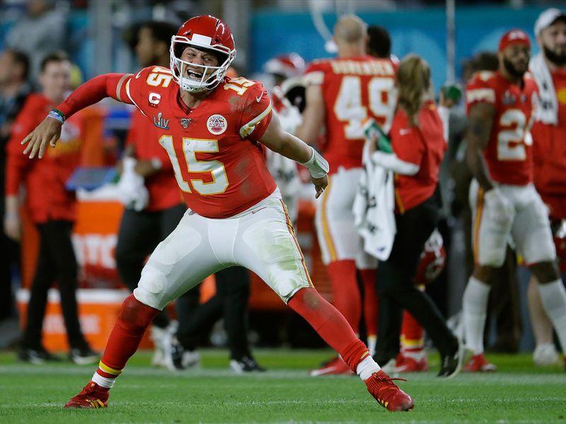 Kansas City Chiefs' quarterback Patrick Mahomes celebrates his touchdown pass to Damien Williams