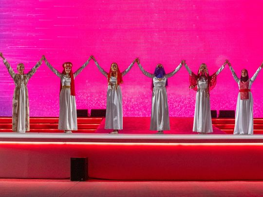 Performers during the opening ceremony of the fifth edition of Arab Women Sports Tournament (AWST) on Sunday
